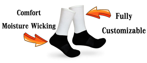 Silky Socks Sublimated Athletic Black Foot Socks Comfort Moisture Wicking Socks