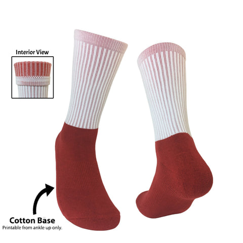 Blank Athletic Socks- Red Foot Red Interior Socks for Sublimation