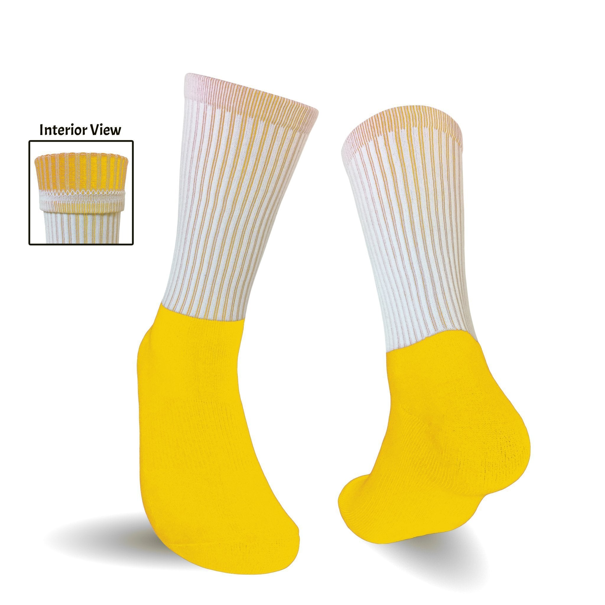 Blank Athletic Socks- Yellow Foot Yellow Interior Socks for Sublimation