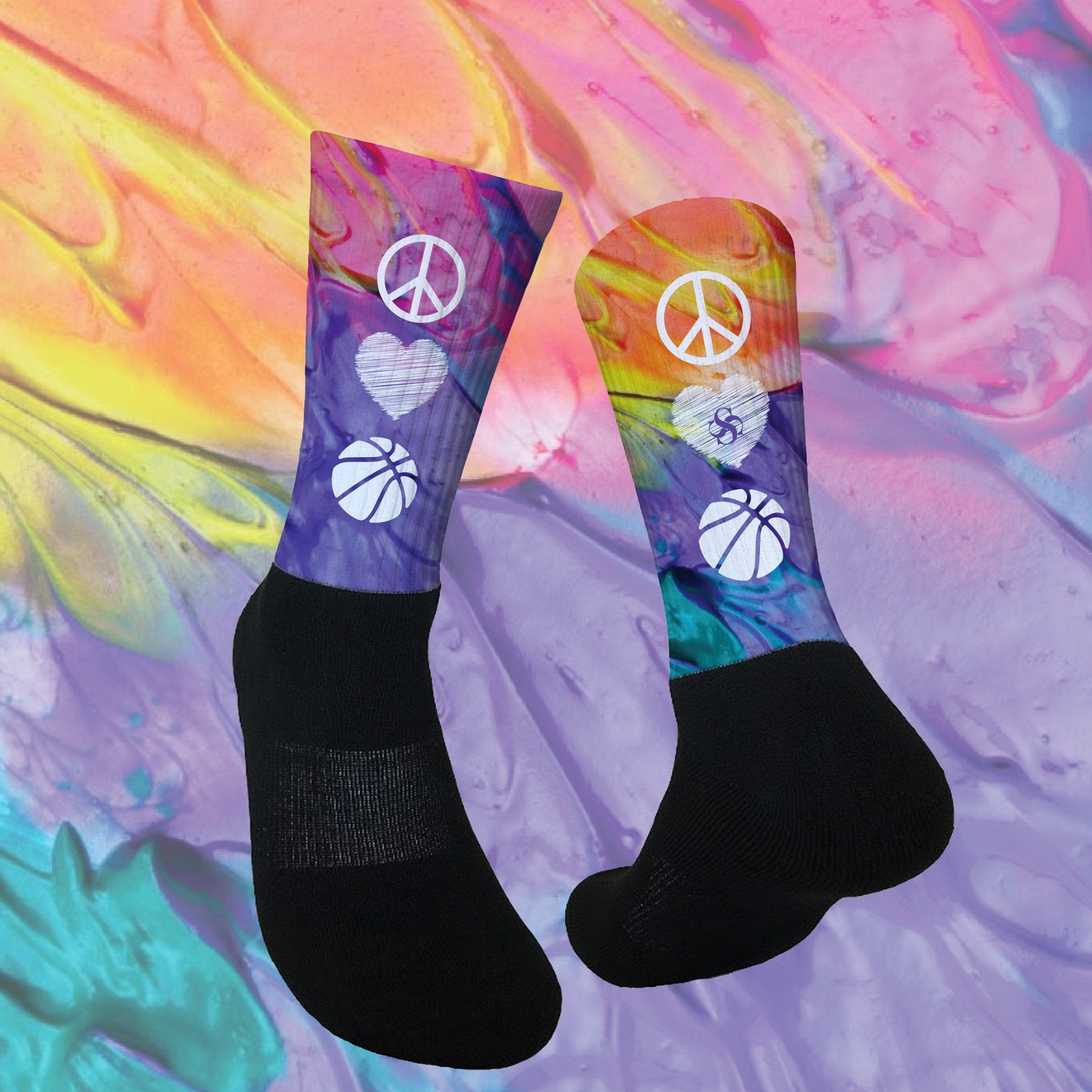 PEACE, LOVE & BASKETBALL Socks!