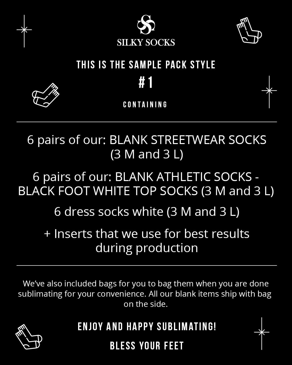 Sample Packs of Blank Socks