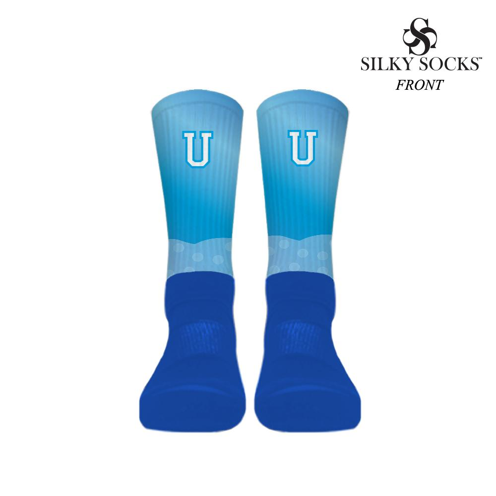 University Blue Foams socks