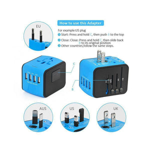 Universal Travel Adapter, All-in-one International Power Adapter with 3A QUAD (4) USB, Travel Power Adapter/ Wall Charger for UK, EU, AU, Asia Covers 150+Countries - Roamify