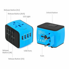 Load image into Gallery viewer, Universal Travel Adapter, All-in-one International Power Adapter with 3A QUAD (4) USB, Travel Power Adapter/ Wall Charger for UK, EU, AU, Asia Covers 150+Countries - Roamify