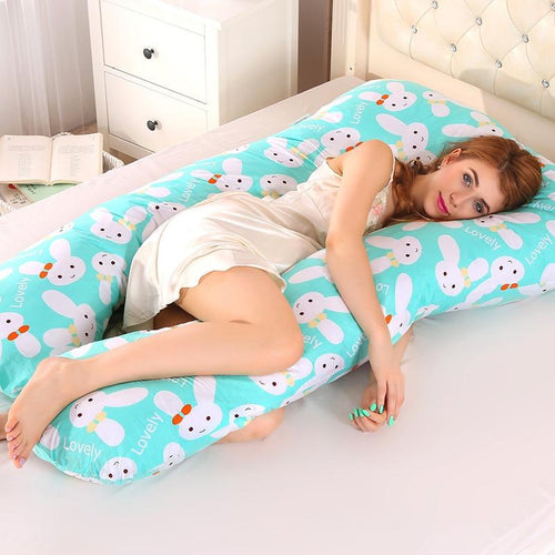 Sleeping Support Pillow For Pregnant Women Body PW12 100% Cotton Rabbit Print U Shape Maternity Pillows Pregnancy Side Sleepers - Roamify