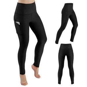 Women's Yoga Pants Running Pants Tights Tummy Control Workout Running 4 Way Stretch Yoga Leggings Tights High Waist with Pocket - Roamify