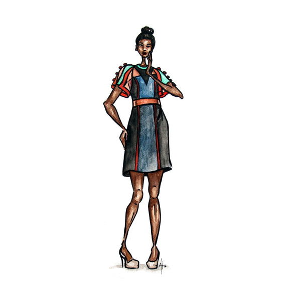 Original Fashion Illustrations (Omaha Fashion Week 2016) -- 9x12