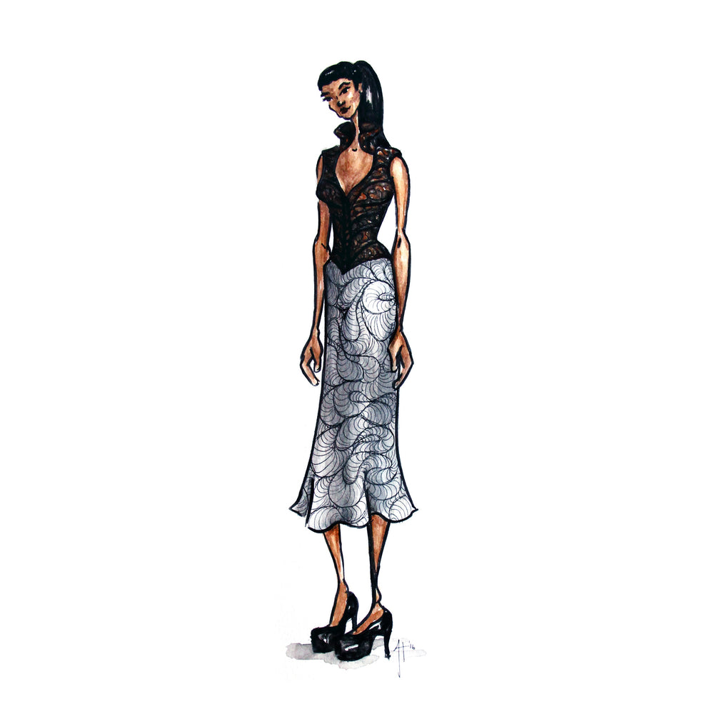 "Original Fashion Illustrations (Omaha Fashion Week 2016) -- 9x12"" ink/watercolor on paper"