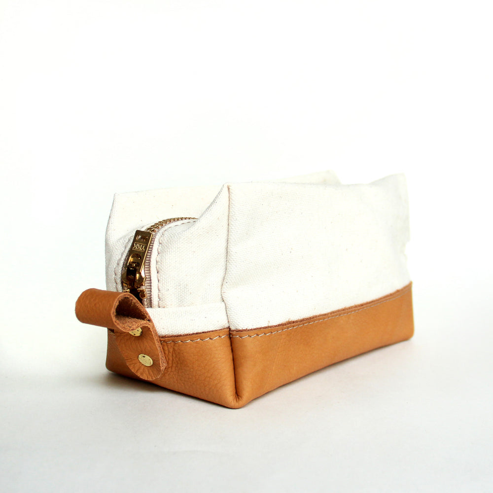 Dopp Kit -- white & tan