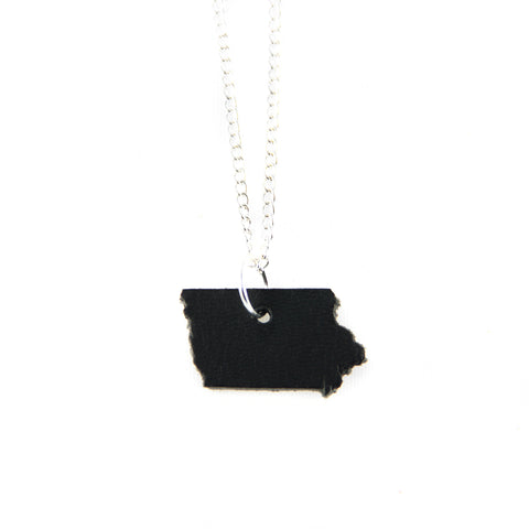 Black leather Iowa shaped necklace
