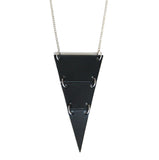 Black leather triangle necklace, cut into 3 sections.
