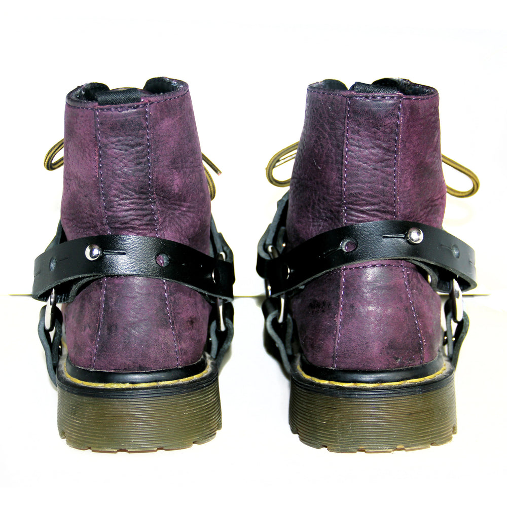 BADASS black boot harnesses, back view on boots