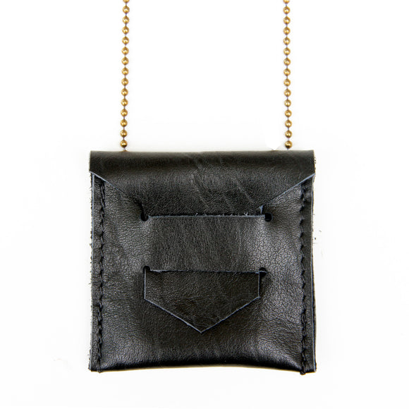Black leather envelope pendent necklace, close up view