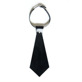 Black leather short tie