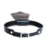 Black leather short tie back view of buckle