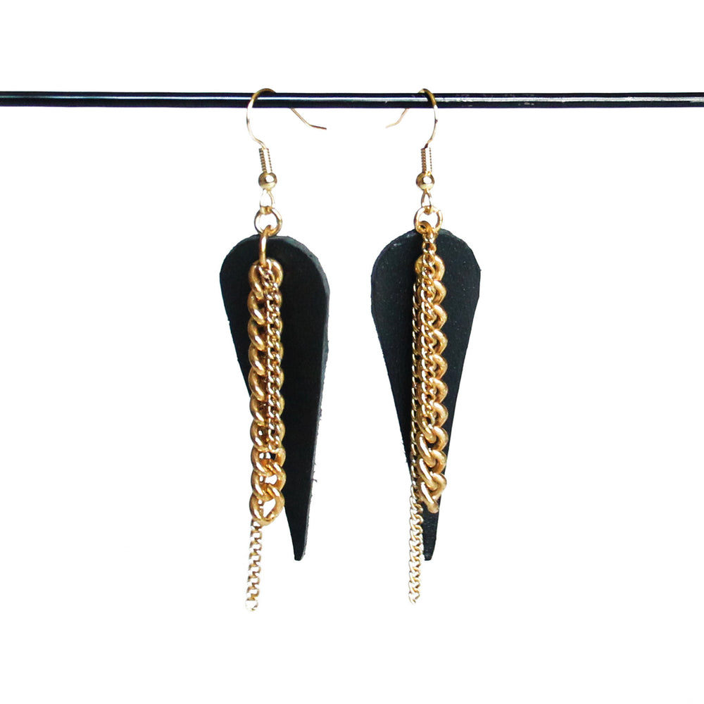 Black leather and Gold chain earrings