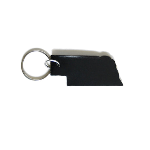 Black leather Nebraska keychain