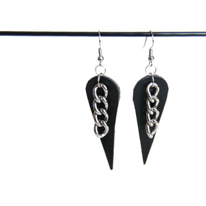 Black leather and silver chain earrings