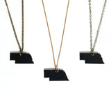 Black leather Nebraska necklace, group of 3
