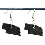 Black leather Nebraska earrings with silver hardware