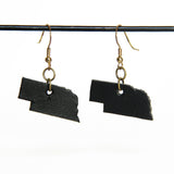 Black leather Nebraska earrings with gold hardware