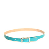 Teal leather choker with silver hardware, front view