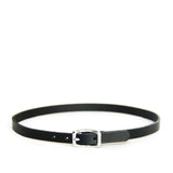 Black leather choker with silver hardware shown on a white background.