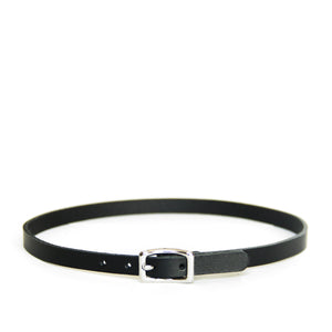Black leather choker with silver hardware, front view