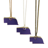 Purple leather Nebraska necklace, group of 3