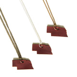 Chestnut brown leather Nebraska necklace, group of 3
