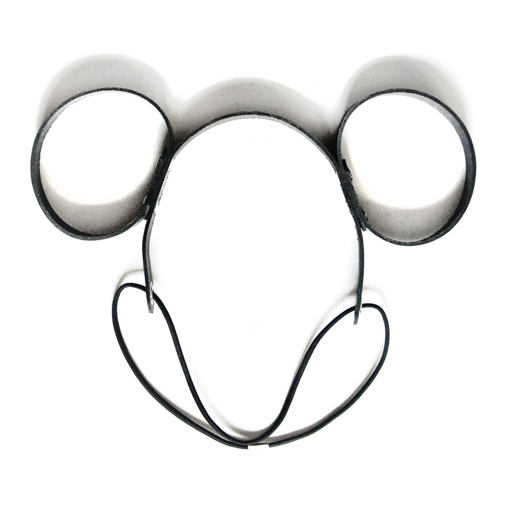 Black leather mouse ears, close up