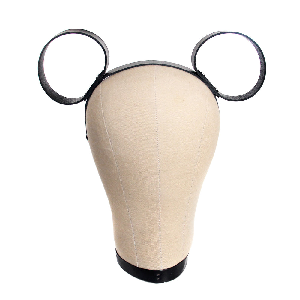 Black leather mouse ears, front view