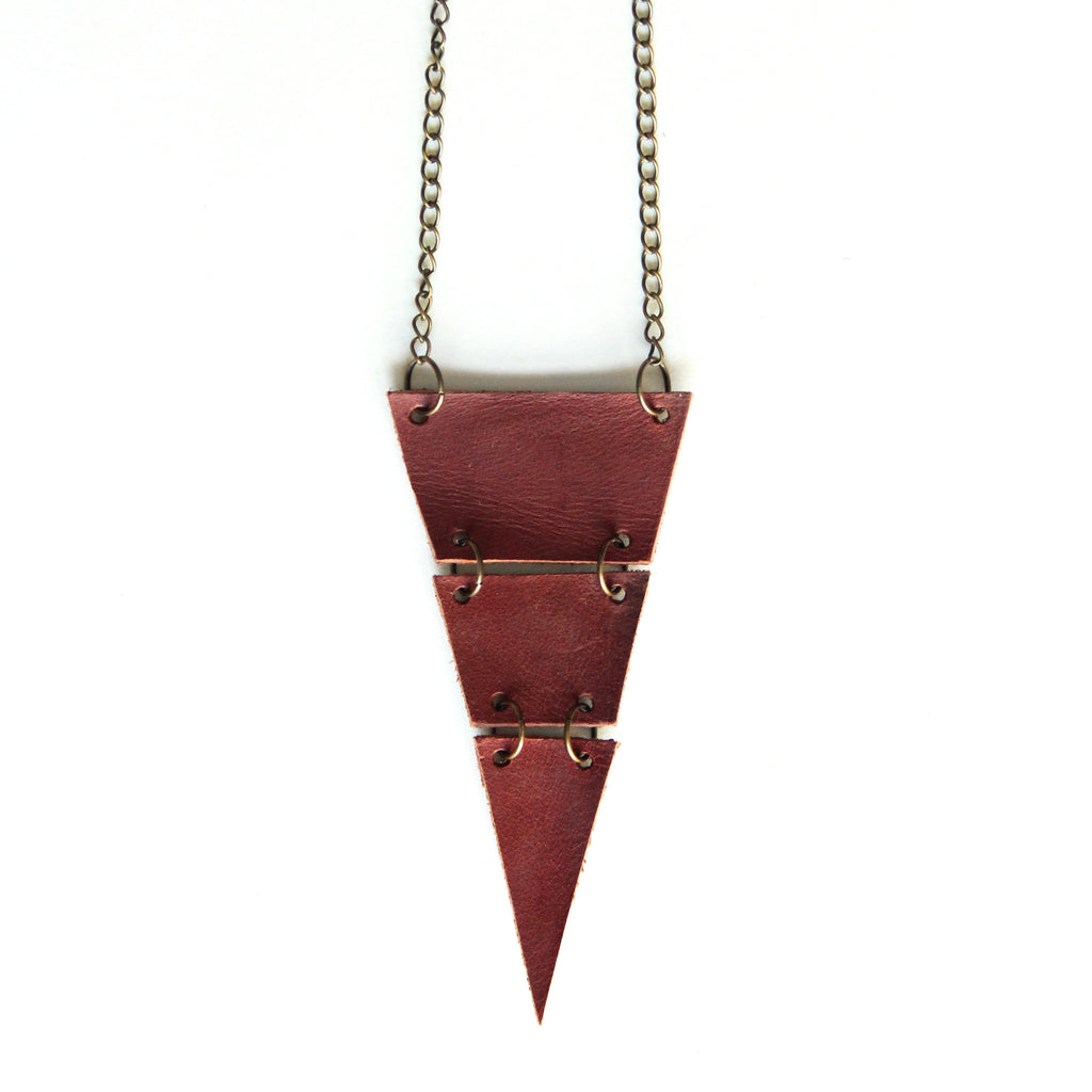 Chestnut brown leather triangle necklace, cut into 3 sections, close up view