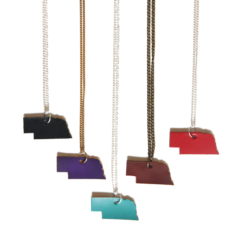 Leather Nebraska necklace, showing 5 colors