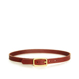 Chestnut brown leather choker with brass hardware, front view
