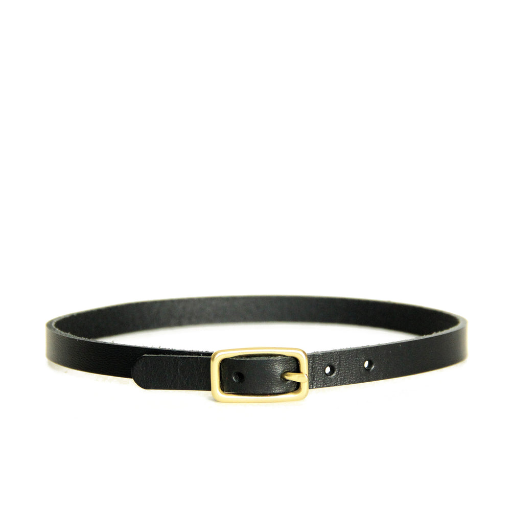 Black leather choker with small brass buckle shown on a white background.