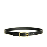 Black leather choker with brass hardware, front view
