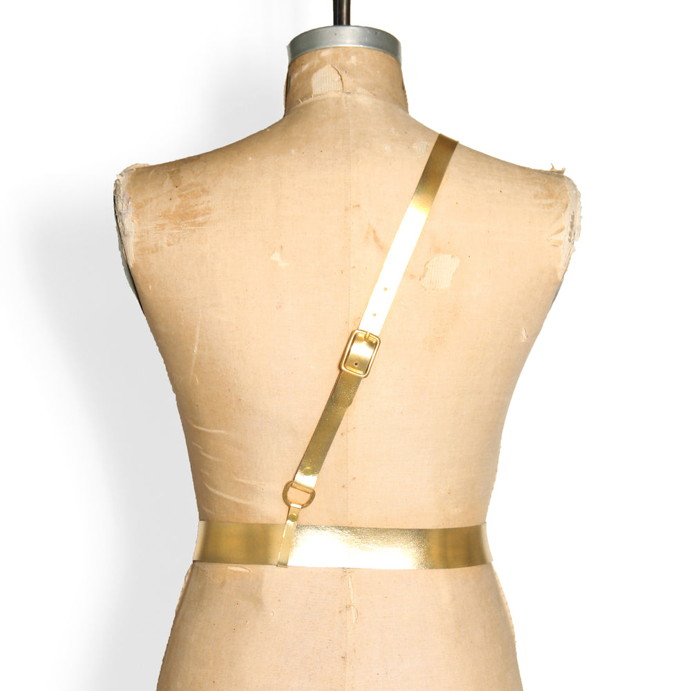 Military Belt -- Metallic Gold Leather