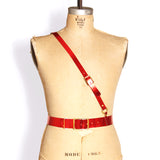 Military Belt -- Metallic Red Leather