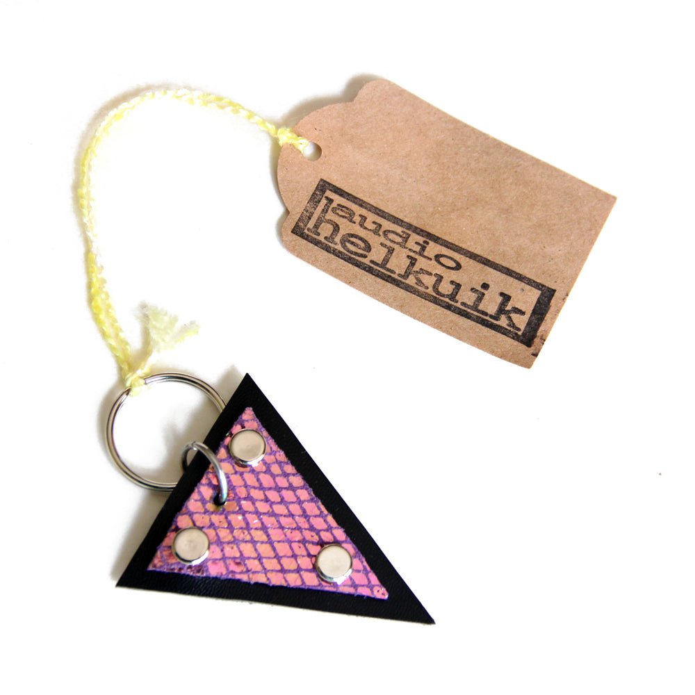 Trianthem keychain, mermaid triangle leather with tags