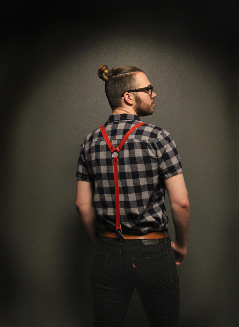 Leather Suspenders - Red (Y-back style)