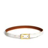Arctic white leather choker with small brass buckle. Back of leather is smooth and brown.