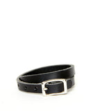 Black leather wrap bracelet with silver hardware