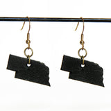 Black leather Nebraska earrings with bronze hardware