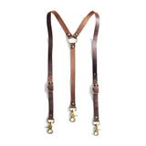Leather Suspenders - Brown (Y-back style)