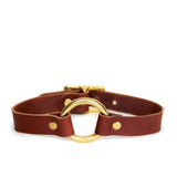 Chestnut brown choker with brass hardware shown on a white background.