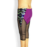 Colorblocked mesh capri leggings, purple and black mesh, angled back view and close up
