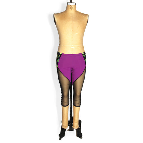Colorblocked mesh capri leggings, purple and black mesh, front view