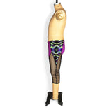 Colorblocked mesh capri leggings, purple and black mesh, side view