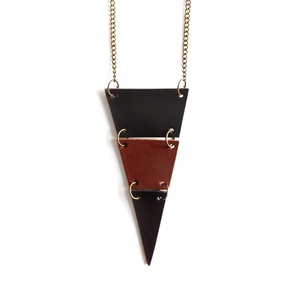 Chestnut brown and black leather triangle necklace, cut into 3 sections, close up view
